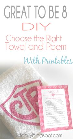 The Willis Family: CTR Towel Tutorial With Poem and Printable #CTRtowel #Greattobe8#lds