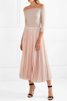 Outlet Fake Free Shipping 2018 Newest Off-the-shoulder Ribbed Jersey And Plissé-chiffon Midi Dress - Blush Alexander McQueen Get To Buy Big Discount Online YXaP1Pq9n0
