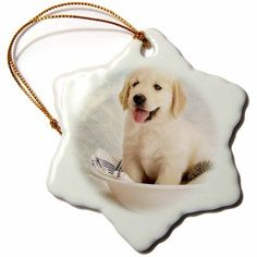 3dRose Cute Golden Retriever Puppy Spa Day Art photo courtesy Badestboss., Snowflake Ornament, Porcelain, 3-inch