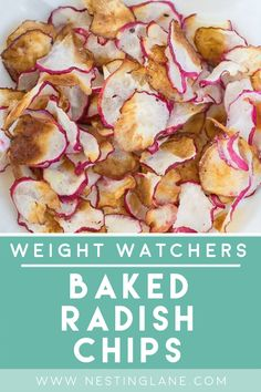 Weight Watchers Baked Radish Chips Recipe. A quick and easy, healthy recipe that's ready in 20 minutes. Only 4 ingredients. A tasty, crunchy snack without the guilt. Fat free, gluten free, low calorie, low carb, and vegetarian! MyWW Points: 0 Green Plan, 0 Smart Points You can't beat that! Radish Recipes, Ww Recipes, Snack Recipes, Weight Watchers Vegetarian, Weight Watchers Snacks, Vegetarian Cooking, Vegetarian Recipes, Healthy Recipes, Diabetic Recipes