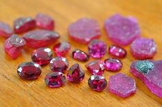 Rough and polished rubies. Photo copyright Vincent Pardieu/GIA.