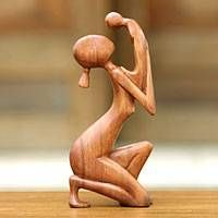 Wood sculpture, 'Moment of Tenderness' - Hand Crafted Mother and Child Sculpture