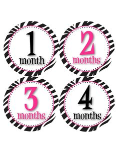 Monthly Onesie Stickers for New Mom and Baby Girls...Bright Pink and Zebra Print...Perfect Baby Shower or New Mommy Gift. $9.00, via Etsy.