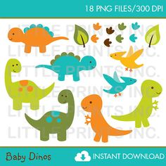 Baby Dinosaur Clip Art INSTANT DOWNLOAD by LittlePrintsParties, $5.00