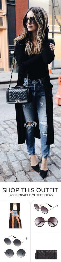 stylish spring outfits /  Black Coat / Black Top / Destroyed & Ripped Skinny Jeans / Black Pumps / Black Quilted Shoulder Bag