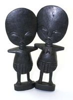 """Set Of 2: Ashanti Fertility Idols - 8"""" $11.90 Hand carved in Kenya, these fertility doll statues are replicas of the Ashanti fertility dolls in Ghana.  A-E022"""