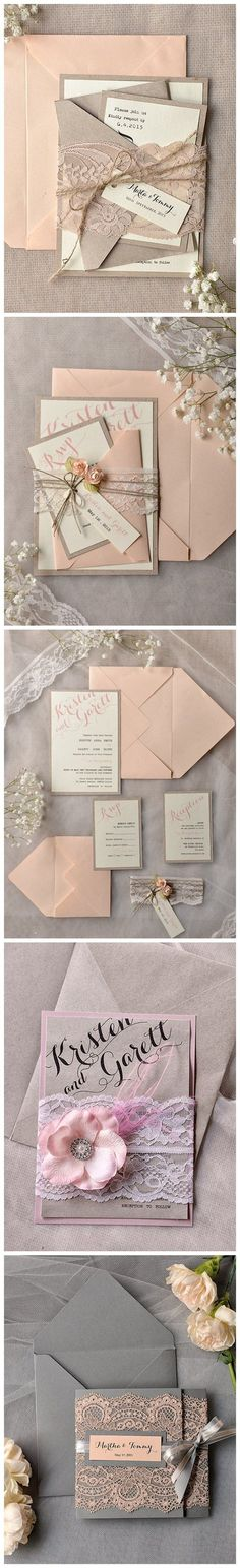 Blush & Pink Rustic Wedding Invitations #WeddingInvitations