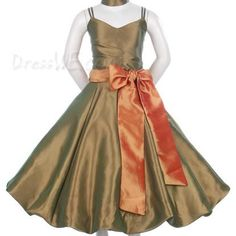 Dresswe.com SUPPLIES Pretty A-line Spaghetti Straps Tea-length Bowknot Ruched Flower Girl Dress Flower Girl Dresses 2014
