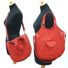 341a2ca4c4f96 Oryginalna, praktyczna, torebka z naturalnej czerwonej skóry licowej. -  Oryginalne torebki damskie,