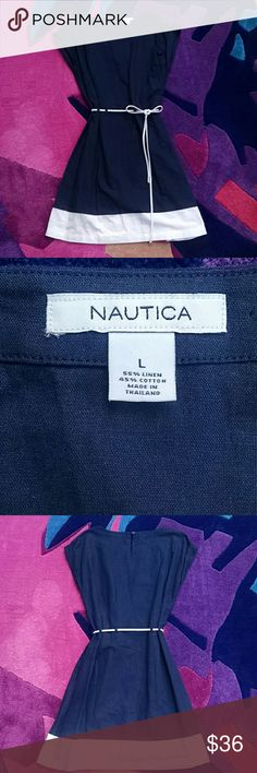 Nautica Navy and White Sailor Dress L Classic navy and white nautical shift dress with rope tie waist. Features silver button  shoulder tabs and back closure. 55% linen, 45% cotton, machine washable. In excellent  condition. Nautica Dresses