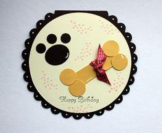 dog paw and bone punch art circle card - bjl