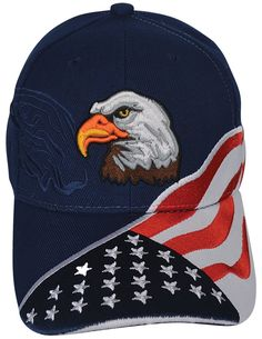 42444a718059 Patriotic Eagle Cap - 3D Embroidered Hat w  American Flag Adjustable Strap