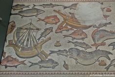 The two Roman merchant ships on the Lod Mosaic.