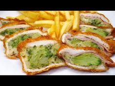 Rántott hús brokkolival, sajttal, sonkával töltve - YouTube Quiche, Zucchini, Sushi, Sandwiches, Food And Drink, Chicken, Vegetables, Cooking, Breakfast