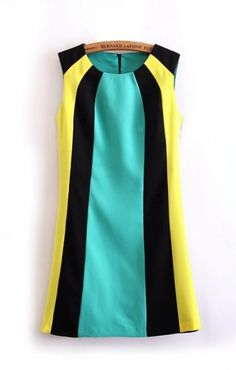 To find out about the Black Green Yellow Sleeveless Straight Dress at SHEIN, part of our latest Dresses ready to shop online today! Elegant Dresses, Cute Dresses, Summer Dresses, Dresses 2014, Straight Dress, Leather Dresses, Trendy Fashion, Womens Fashion, Trendy Style