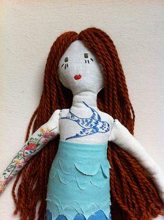 One-of-a-Kind Vintage Cloth Mermaid Rag Doll. $150.00, via Etsy.