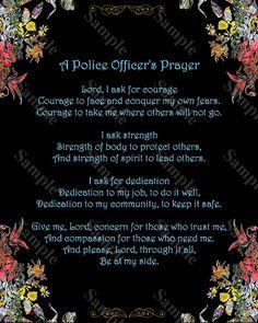 Police Officer's Prayer Poem Policeman Poem 8 x 10 Print