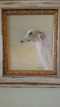 Oil on Canvas Borzoi by Jacqueline Dravetz