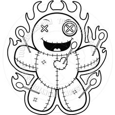 Printable Adult Coloring Pages, Cute Coloring Pages, Coloring Books, Voodoo Doll Tattoo, Voodoo Dolls, Dark Drawings, Cool Drawings, Wubba Lubba, Gothic Fantasy Art