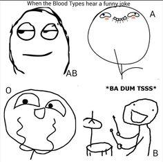 When Blood Types Hear a Funny Joke
