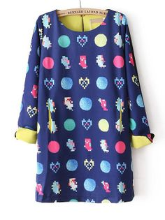 Blue Long Sleeve Heart Round Print Dress 0.00