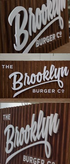 Vintage Slatted Wooden Sign by Goodwin Goodwin. Having a natural wood finish, this sign is great for organic food makers. The slatted timber background with the raised lettering creates a lovely effect. To order simply send us your logo and we can tu Wayfinding Signage, Signage Design, Led Neon, Logos Online, Exterior Signage, Restaurant Signs, Environmental Graphic Design, Vintage Typography, Typography Design