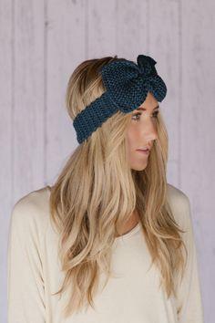 Women's Knitted Headband Knitted Acrylic Bow Ear by ThreeBirdNest