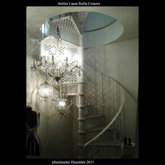 vintage chandeliers in Atelier
