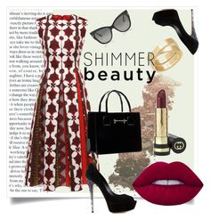 """""""Shimmer beauty"""" by crystall1000 ❤ liked on Polyvore featuring L.A. Girl, Valentino, Casadei, Lime Crime, Gucci, Tom Ford and Cartier"""