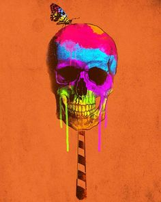 Rainbow drip skull