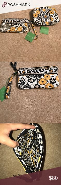 """Vera Bradley Wristlet and cosmetic bag Vera Bradley """"go wild"""" collection. NWT absolutely perfect condition, the Wristlet has 6 interior pockets and Wristlet is detachable. The cosmetic bag only had one interior pocket and it is lined with washable interior. Never used! May buy separately or together (price is shown as if bought together). I️ will make a separate listing if you want one bought separately : ) Vera Bradley Bags Clutches & Wristlets"""