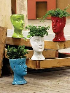 ceramic head planters — i would like one in every color, please...