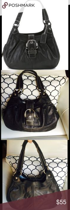 """COACH F15075 large soho Handbag  Black Leather COACH F15075 large soho Handbag Purse Black Leather The approximate dimensions are: 14 """" (L)  x 11 """" (H) x 4"""" (Depth/Width)  This features 3 compartments (2 snap button & 1 zip compartment)  Inside zip pocket & 2 multifunctional interior pockets  The approximate handle drop is: 9""""  Snap button closure This is in good condition in and out  (SEE PHOTOS) and shows gentle signs of wear )This is 100% Authentic Coach Bags"""