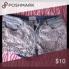Aeropostale Shorts Light blue denim with lace! Aeropostale Shorts Jean Shorts