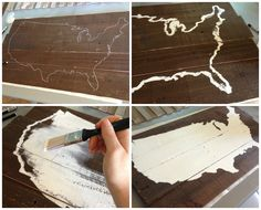 I wanna do this with different colors and tin hearts:) saying home is where the Marine Corps takes us DIY united states map wall décor. Wooden rustic sign and tutorial, with link to print large maps. Popular with the Poplins Pallet Art, Diy Pallet Projects, Wood Projects, Pallet Signs, Pallet Wood, Diy Wood, Rustic Signs, Wooden Signs, Rustic Decor