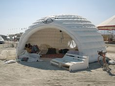 Inflatable igloo, Burning Man, Black Rock City, Nevada 2013. Interesting link.