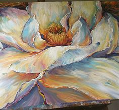 Oil Painting large texture blooming Magnolias art By Paula