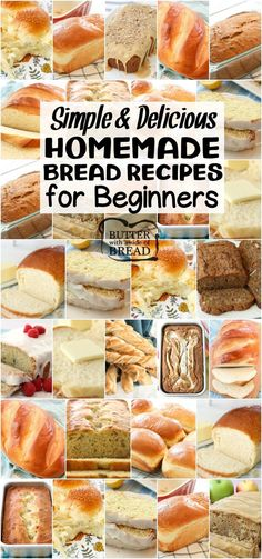 Easy Homemade Bread Recipes for Beginners~ from sweet to savory, quick breads to yeast breads, you're going to love this bread! Most popular easy bread recipes we can't get enough of. If you want to make bread, START HERE! from BUTTER WITH A SIDE OF BREAD Easy Bread Machine Recipes, Bread Maker Recipes, Yeast Bread Recipes, Quick Bread Recipes, Healthy Recipes, Beginner Baking Recipes, Baking For Beginners, No Bake Bread Recipe, Recipes With Bread Dough