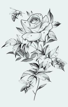 Dark Roses Tattoo, Skull Rose Tattoos, Rose Flower Tattoos, Flower Tattoo Drawings, Tattoo Design Drawings, Chicano Art Tattoos, Anime Tattoos, Body Art Tattoos, Sleeve Tattoos