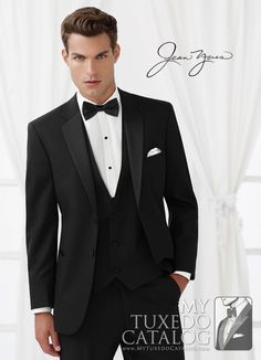 Black 'Modern Essential' Tuxedo from http://www.mytuxedocatalog.com/catalog/rental-tuxedos-and-suits/c1006-black-modern-essential-tuxedo/