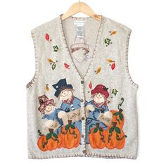 Scarecrow and Pumpkins Ugly Fall / Halloween / Thanksgiving Vest Sweater Shop, Ugly Sweater, Sweaters, Spooky Halloween, Being Ugly, Pumpkins, Thanksgiving, Vest, Shopping