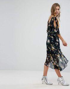 For Sale 2018 Floral Asymmetric Floaty Dress - Multi Bershka Discount Buy Online Cheap Quality Best Deals Discount Wide Range Of jBT28w