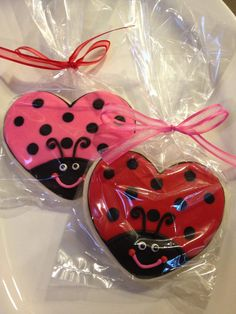 Custom Lady Bug Cookies Heart Shaped by dngreenhouse on Etsy, $36.00.