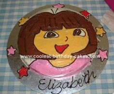 Dora Cake: My daughter is Dora crazy and for her 3rd birthday I decided to make a Dora cake.  Once thought out, this cake was very easy to make.    I searched the