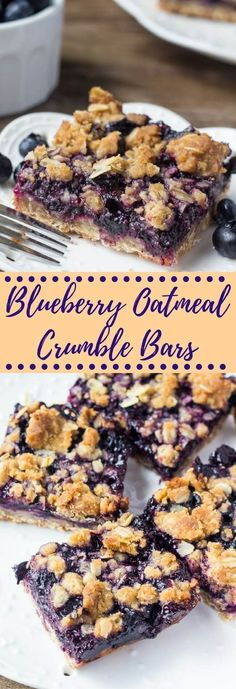 Blueberry Oatmeal Crumble Bars These blueberry oatmeal crumble bars are bursting with juicy blueberries, and filled with crunchy oatmeal crumble. Delicious for breakfast or dessert. The post Blueberry Oatmeal Crumble Bars appeared first on Womans Dreams. Brownie Desserts, Healthy Desserts, Just Desserts, Delicious Desserts, Yummy Food, Yummy Eats, Yummy Appetizers, Yummy Yummy, Healthy Blueberry Recipes