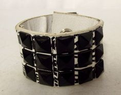Black and White reclaimed leather cuff - black studs - upcycled unisex - punk rock rocker by honeyblossomstudio on Etsy