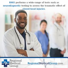 RMG performs a wide-range of tests such as neurodiagnostic testing to assess the traumatic effect of closed-head injuries. Head Injury, Pain Management, Chiropractic, Back Pain, Regional, Pain Relief, Assessment, Windbreaker, Medical