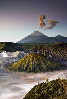 Love Bromo Mountain #Indonesia | Mount Bromo (Indonesian: Gunung Bromo), is an active volcano and part of the Tengger massif, in East Java, Indonesia. At 2,329 metres (7,641 ft) it is not the highest peak of the massif, but is the most well known. The massif area is one of the most visited tourist attractions in East Java, Indonesia.