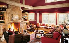 Rustic Lodge - Living Room - Red