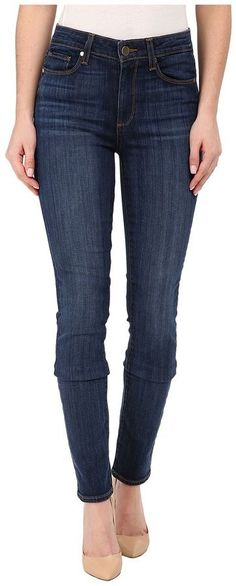 Find the perfect fit in these PAIGE jeans. ; The Ultra Skinny has a comfortable mid rise that features a slim leg from the knee to the ankle. ; 10.5 oz stretch-cotton denim flaunts Arya, a medium, indigo blue hue with fading and whiskering for the ultimate cool-girl look. ; Five-pocket design. ; Strategically placed back pockets lift the rear. ; Contrast topstitching. ; Signature whipstitch accents on the left back pocket. ; Leather brand tab at the back waist. ; Belt loop waistband. ;..